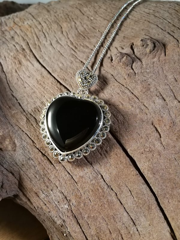 Whitby Jet Heart pendant with marcasite surround
