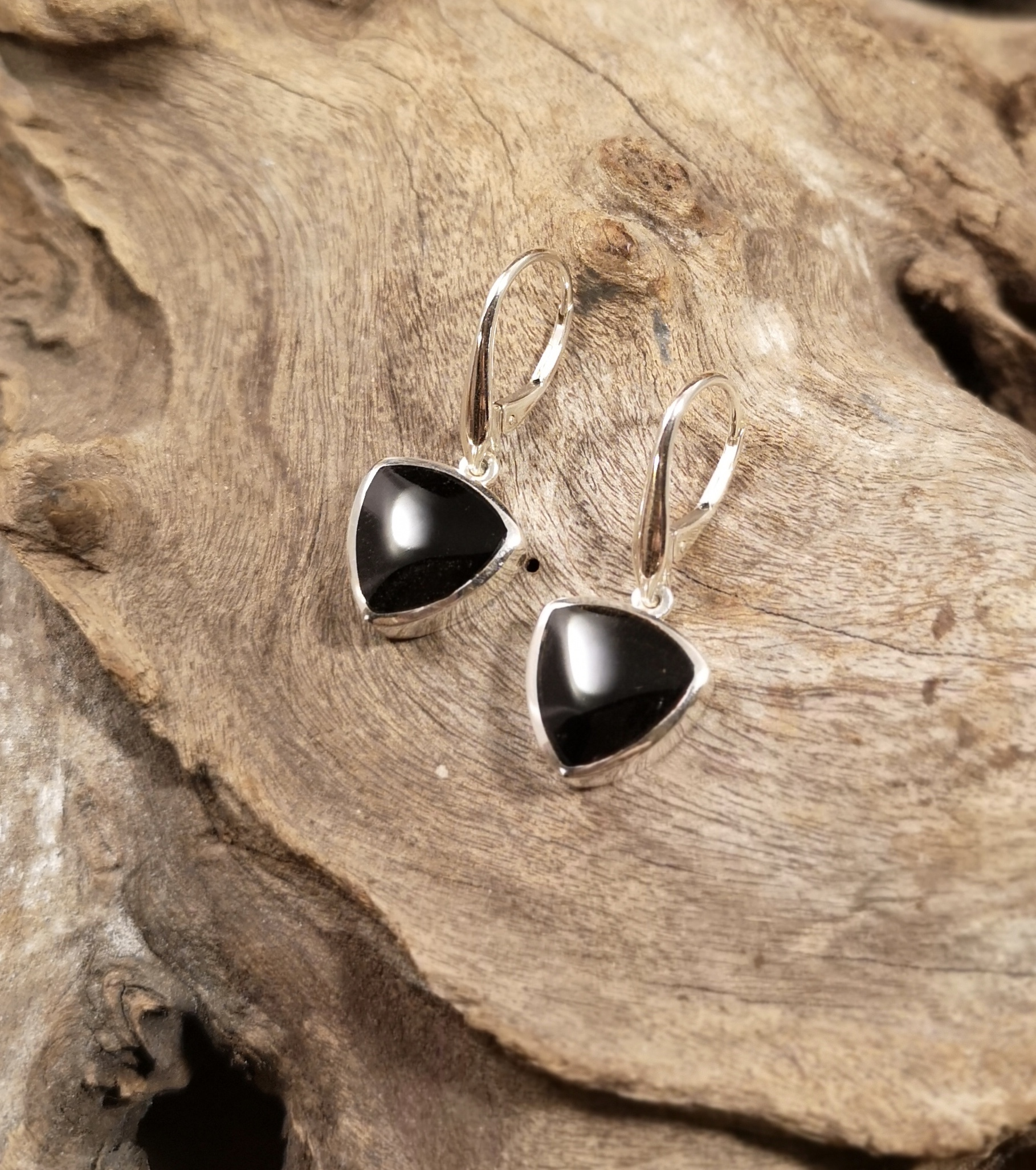 Large triangle drop earrings