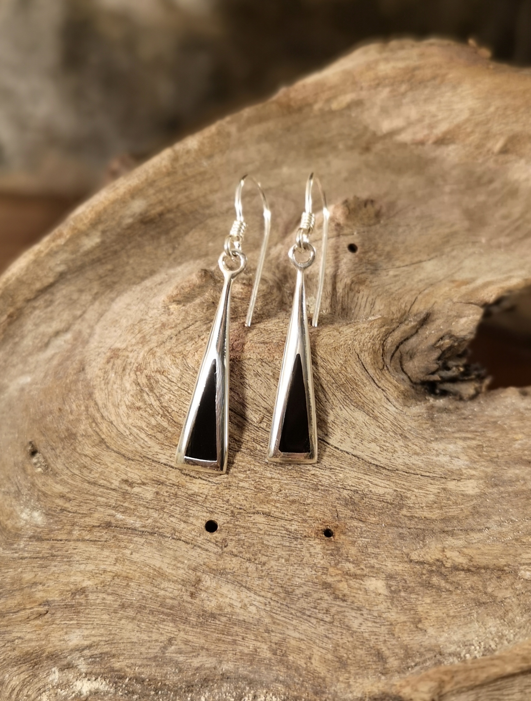 Small trapezium drop earrings