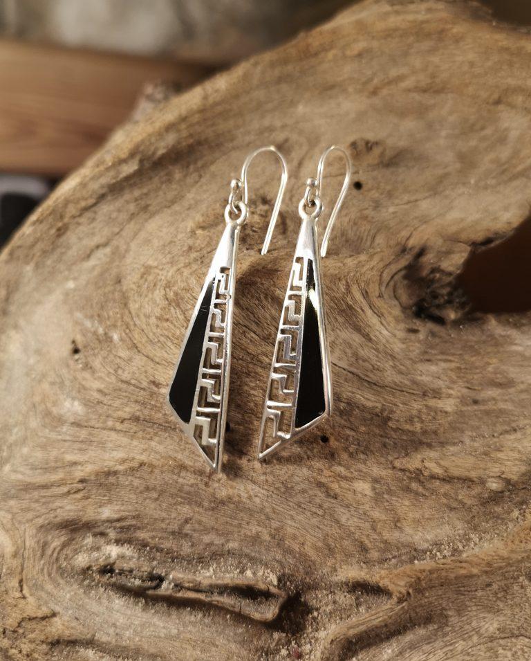 Long Greek key drop earrings