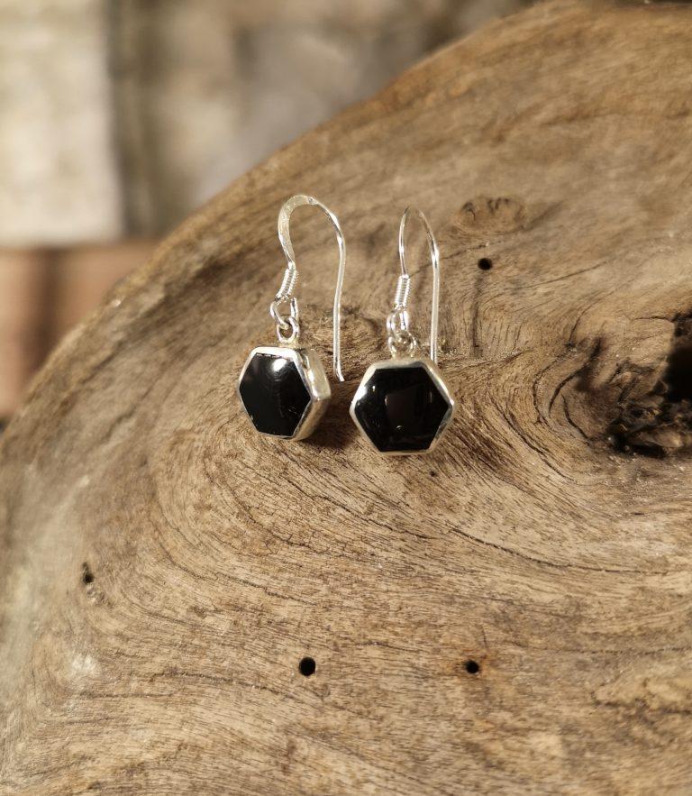 Small hexagon drop earrings