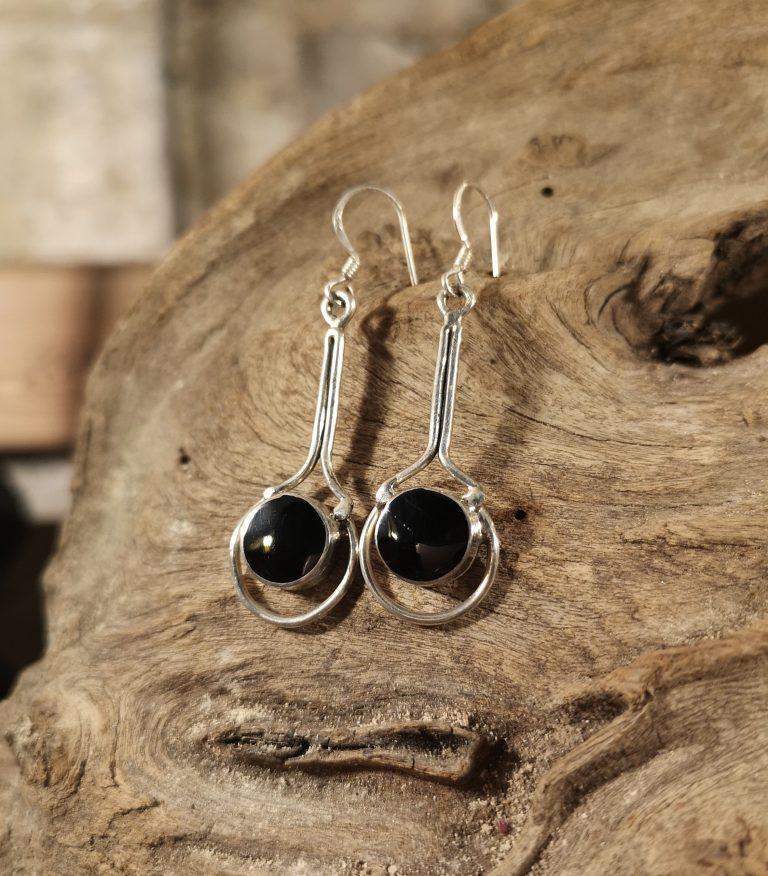 Super-long halo earrings