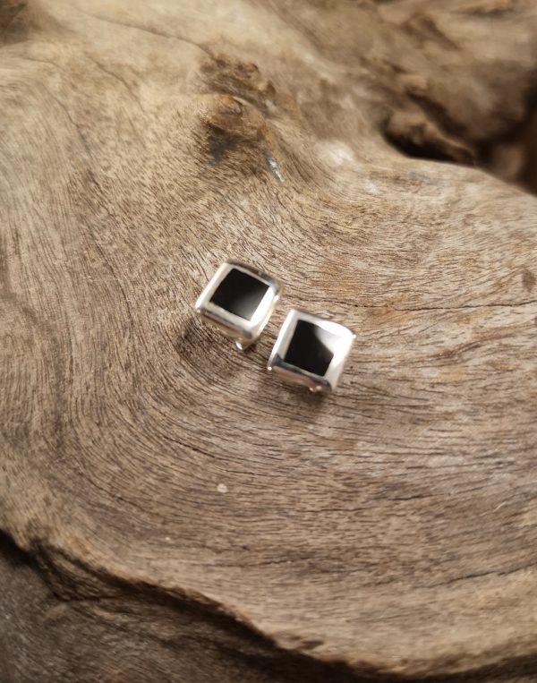 Whitby Jet flat square stud earring