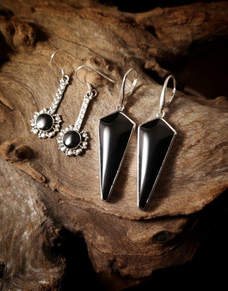 Whitby Jet drop earrings