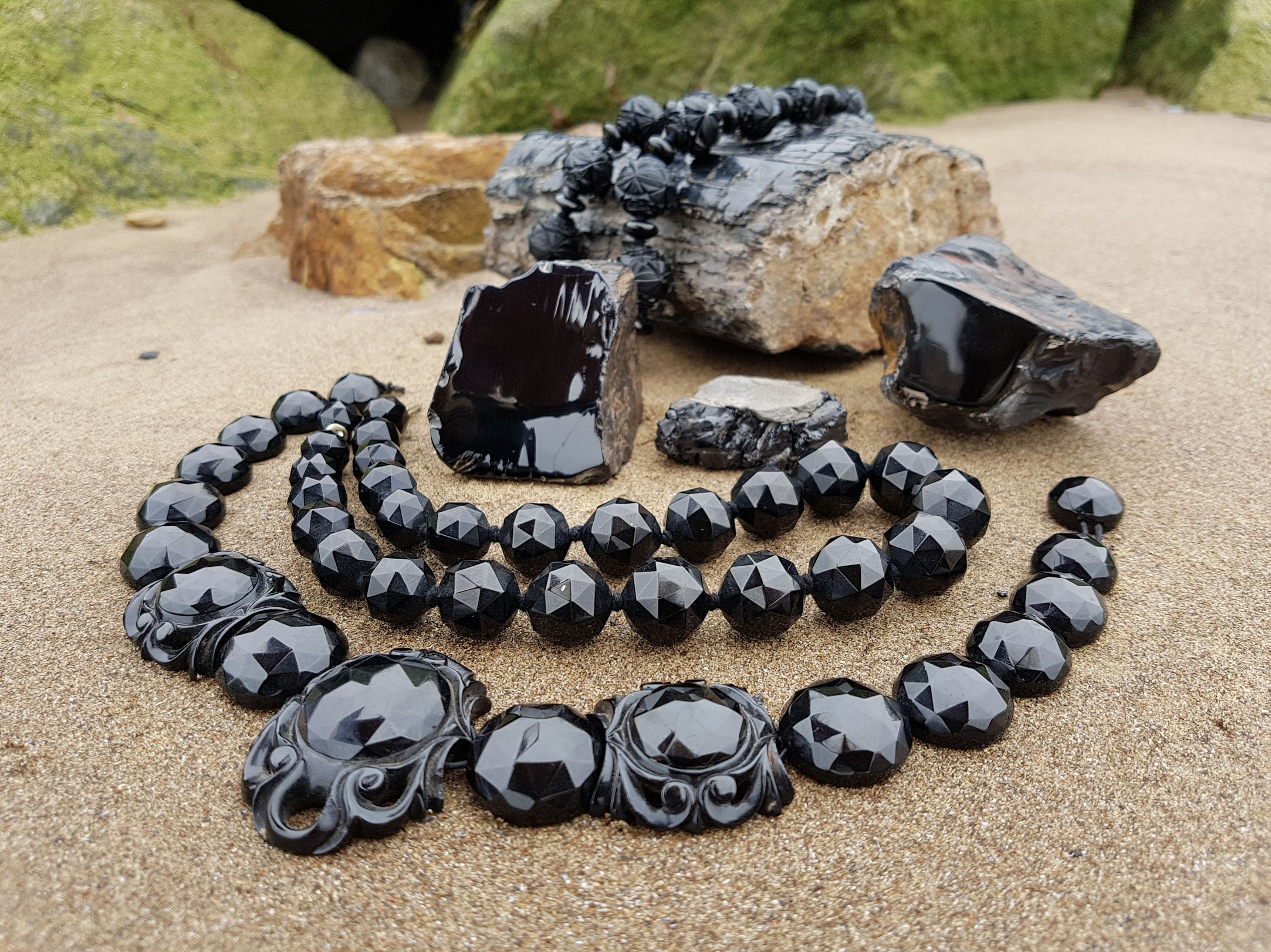Antique Whitby Jet Beads