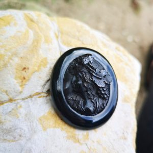 Carved cameo antique Whitby Jet brooch.