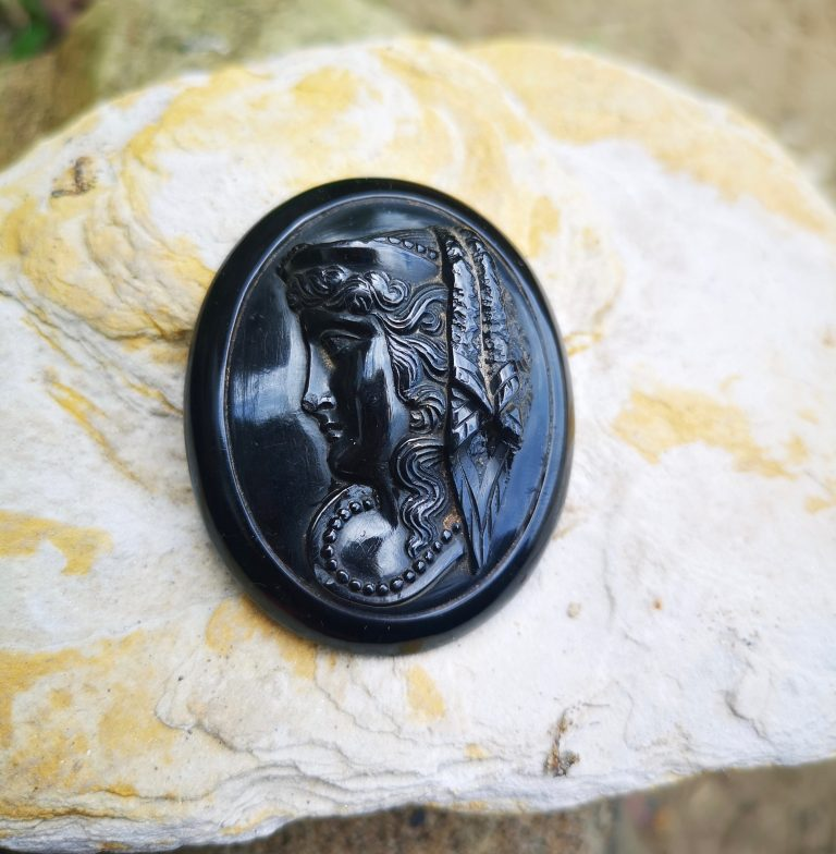"Antique Whitby Jet cameo ""lady in jet beads"""