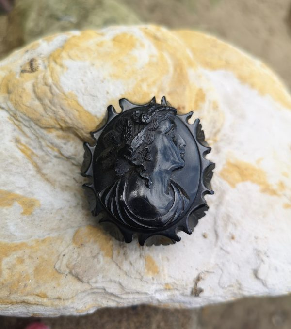 Victorian antique carved Whitby Jet brooch.