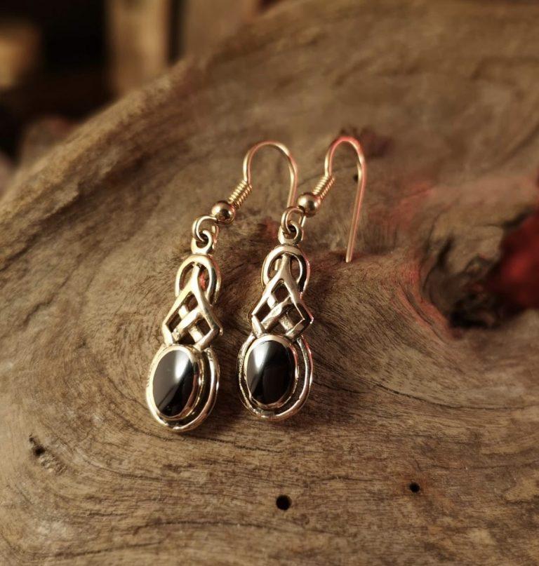 9ct Gold Celtic drop earrings