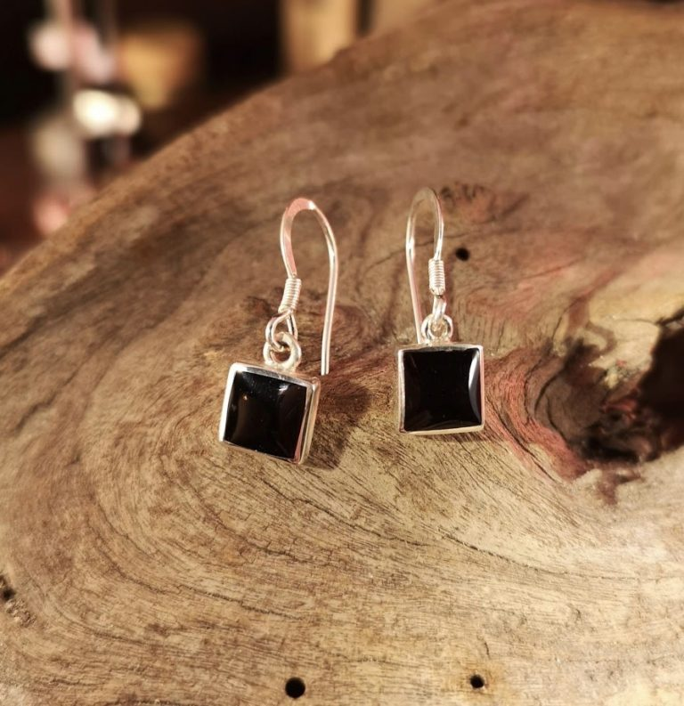 Small square drop earrings