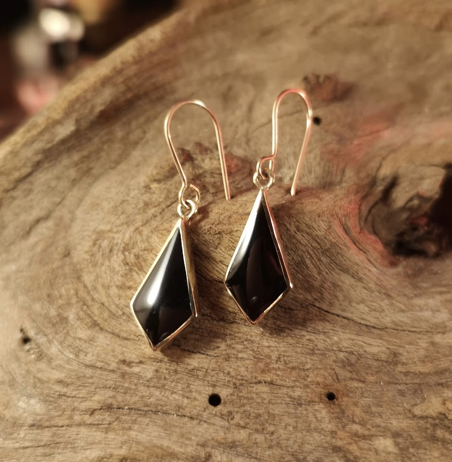 Gold Whitby Jet Dangly Earrings