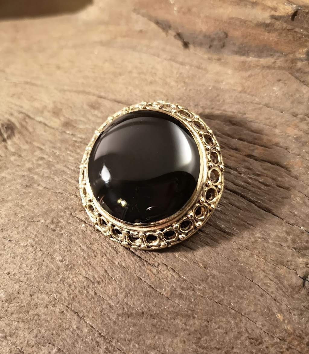 Gold Whitby Jet Brooches