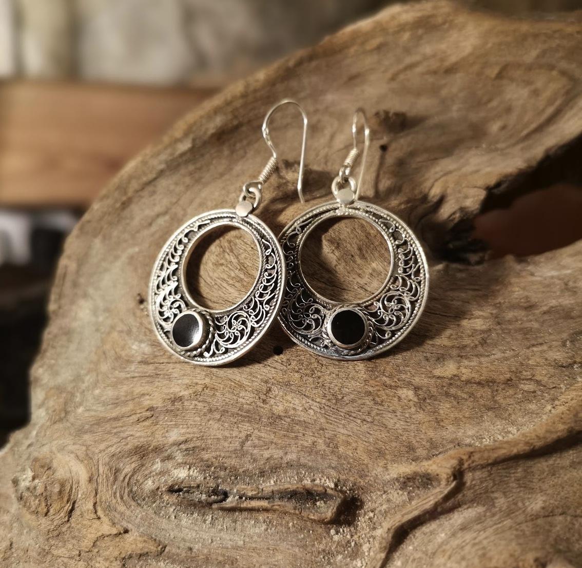 Large fancy round drop earrings