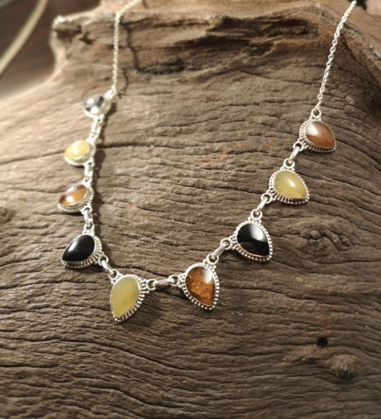 Whitby Jet and Baltic amber collar