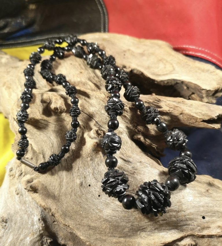 Antique 24.5″ ornate Whitby Jet beads