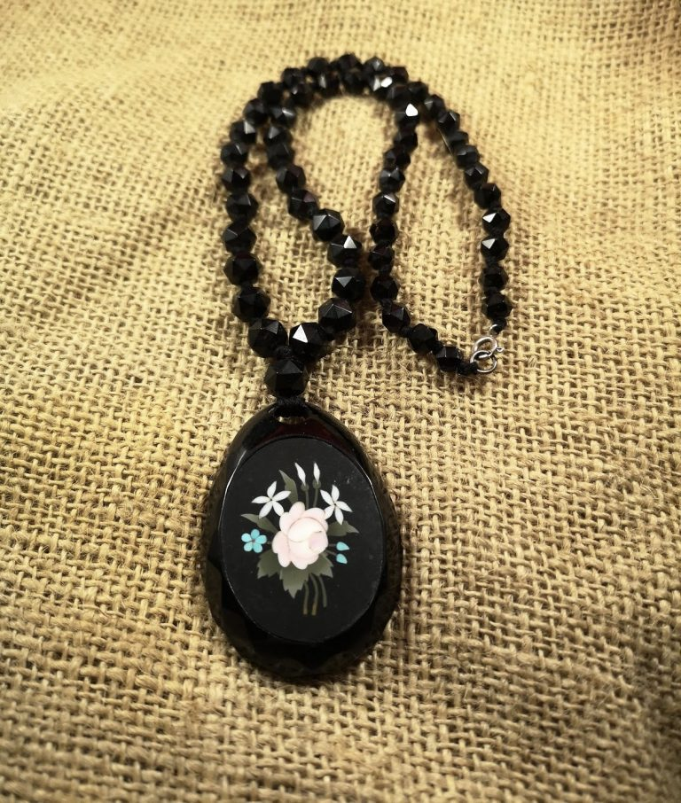 Antique Whitby Jet and pietra dura pendant