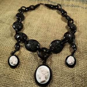 Antique Whitby Jet Chain with 3 carved cameos