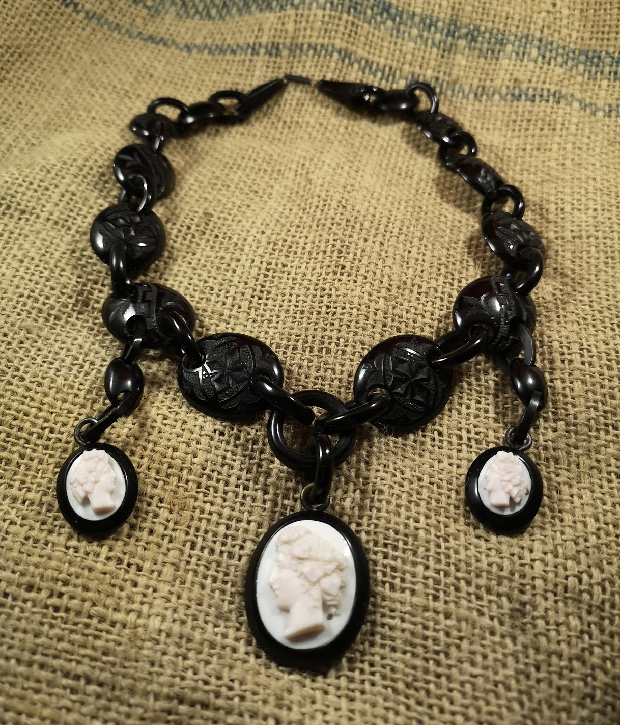 20″ Antique Whitby Jet shell cameo collar