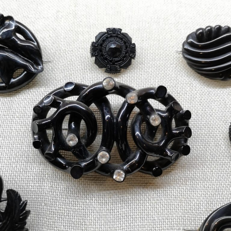 Antique Whitby Jet brooches
