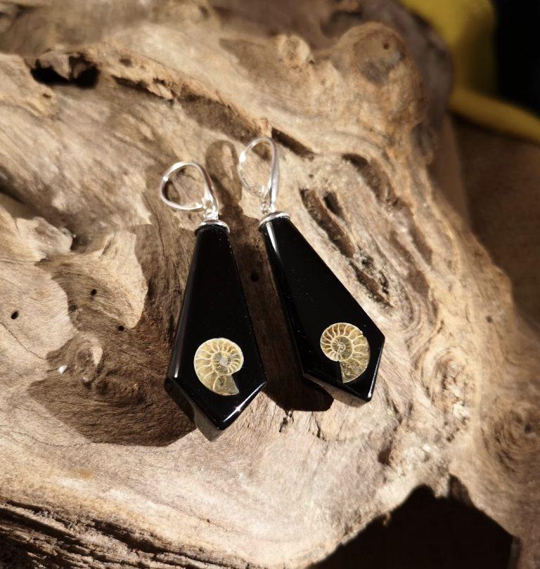 Ammonite Inlay Medium Drop Earrings