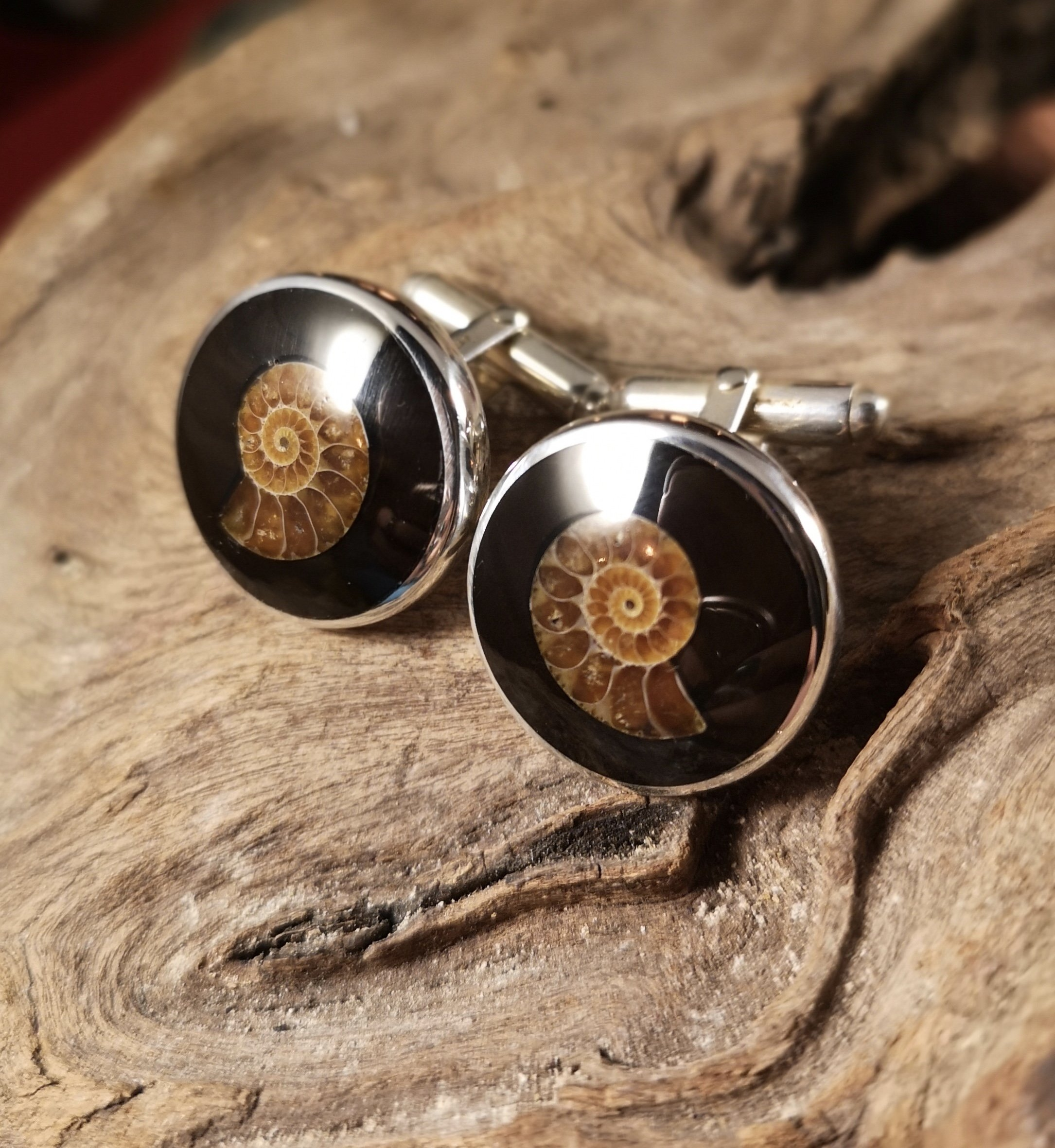 Large Round Ammonite Inlay Cufflinks