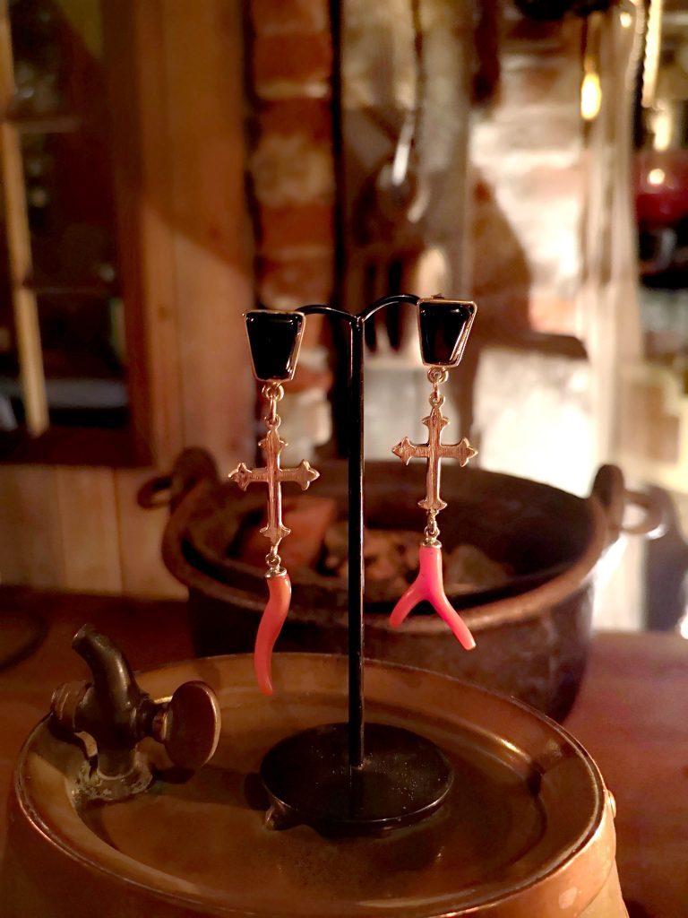 Whitby Jet and Coral earrings