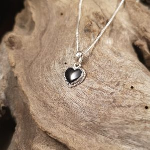 Small Whitby Jet rope edge pendant