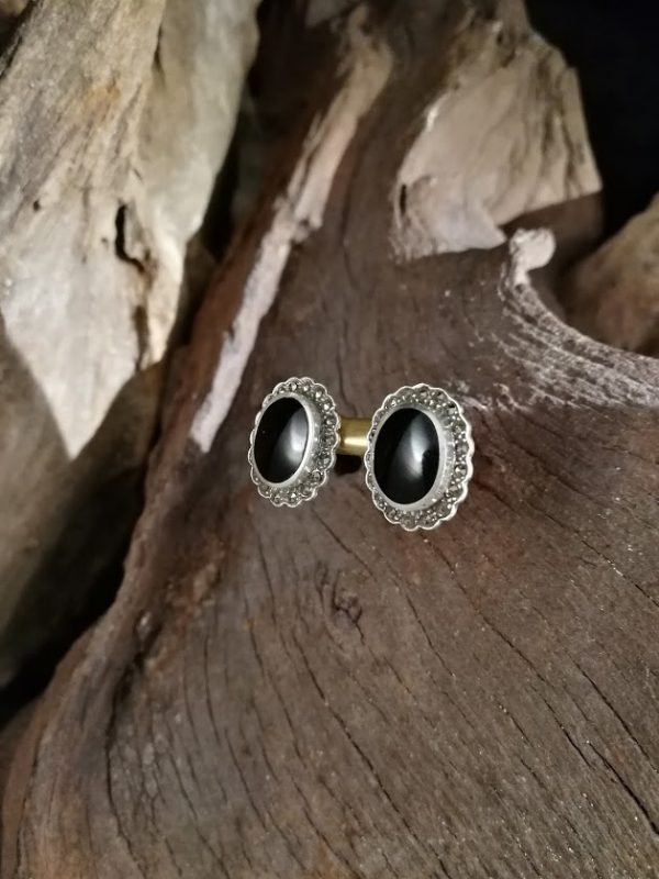 Sterling silver and Whitby Jet stud earrings with marcasite surrounds.