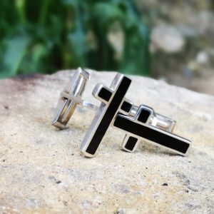 Whitby Jet cross cufflinks.