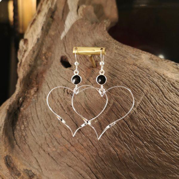 Whitby Jet heart earrings.