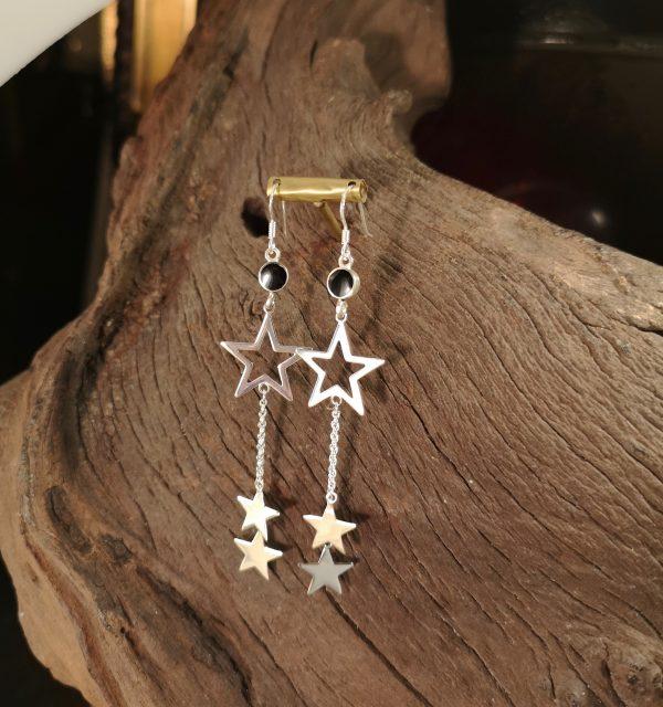 Whitby Jet silver star earrings