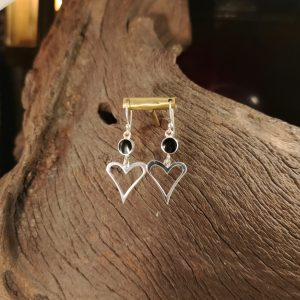 Whitby Jet heart drop earrings.