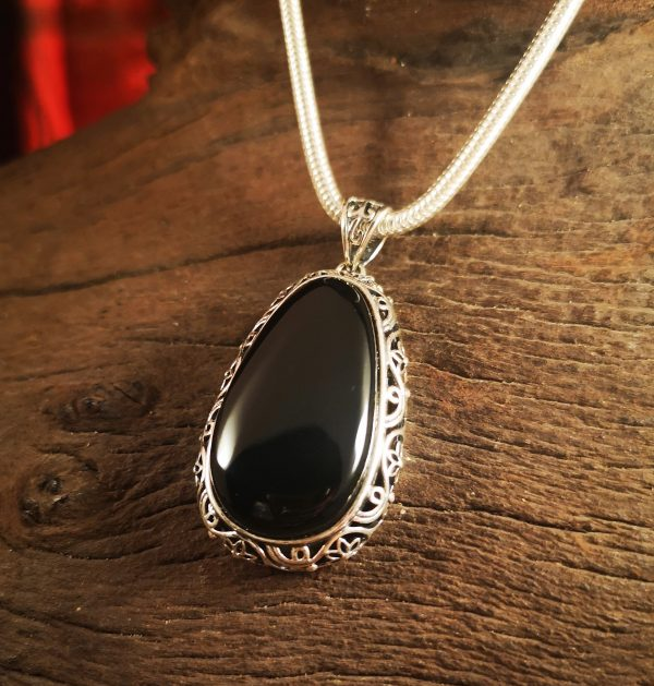 Sterling silver and Whitby Jet pendant.