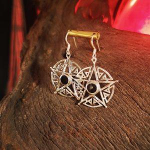 Star shaped Whitby Jet earrings.
