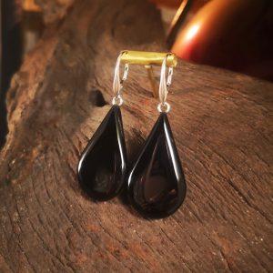 Teardrop Whitby Jet earrings.