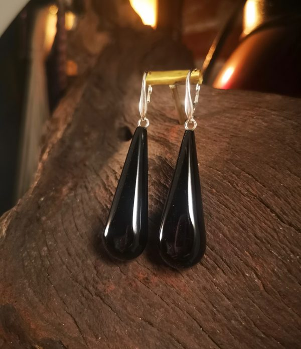 Long Whitby Jet earrings.