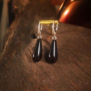 Whitby Jet drop earrings.