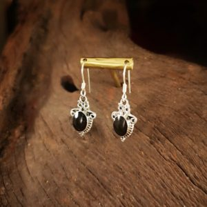 oval Whitby Jet earrings.