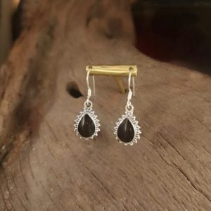 Frill edged Whitby Jet teardrop earrings.