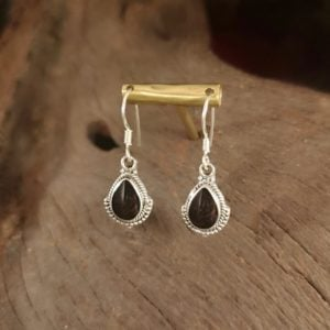 Teardrop Whitby Jet earrings.