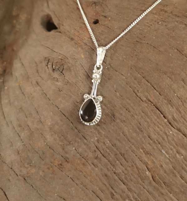 Whitby Jet and sterling silver drop pendant