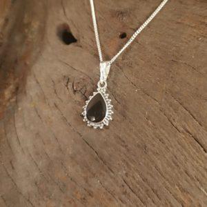 Whitby Jet sterling silver teardrop pendant