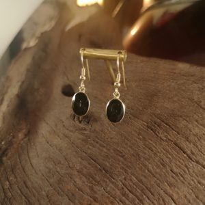 Oval, gold and Whitby Jet earrings.