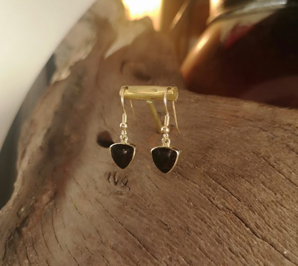 Triangular,gold and Whitby Jet earrings.