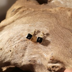Gold and Whitby Jet drop earrings.