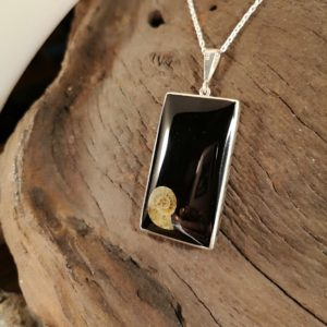 Whitby Jet Pendant with Ammonite inlay.