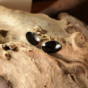 9ct Gold and Whitby Jet Cufflinks.