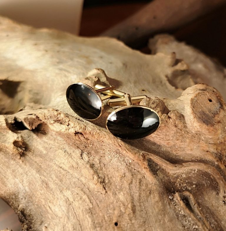 Gold Whitby Jet Cufflinks
