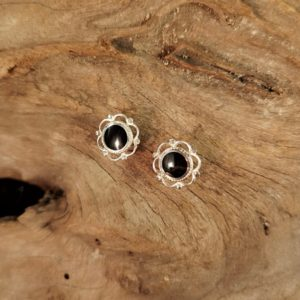 Whitby Jet Yorkshire Rose stud earrings