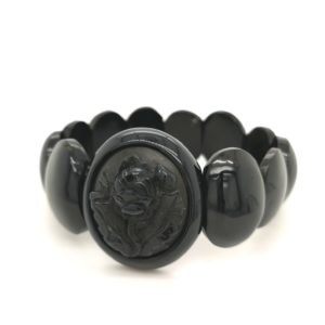 Antique victorian Whitby Jet Bracelet with carved rose centrepiece.